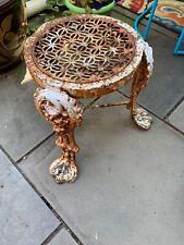 Antique Victorian White Cast Iron Ornate Plant Stand Rare Unique