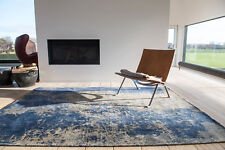Modern Abstract MAD MEN CRACKS ABYSS BLUE 8629 Faded Louis de Poortere Area Rugs
