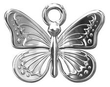 ONE STERLING SILVER BUTTERFLY CHARM / PENDANT + CLOSED RING, 13 X 11 MM