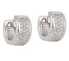 Epiphany Platinum Plated Sterling Silver Diamonique Huggie Hoop Earrings QVC