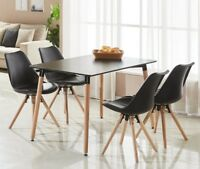 Sophie Dining Set - 4 x Sophie Padded Dining Chairs and Black Halo Dining Table