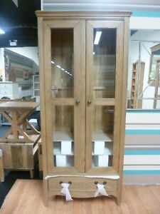 New French Oak 2 Door 1 Drawer Glazed Display Unit Cabinet *Furniture Store*