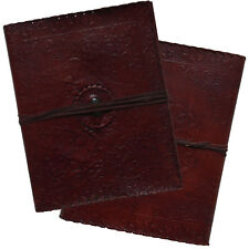 "13"" Real Leather Handmade Vintage Photo Album Floral Embossed Blue Stone 2nd's"
