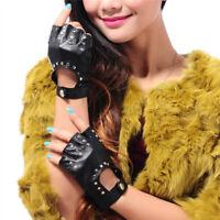 Women's Punk Genuine Leather Gloves Rivets Half Finger Fingerless Driving