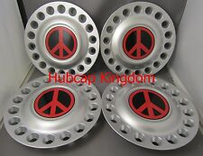 "1998-2005 VW BEETLE Bug 16"" Wheel Center Hub Cap SET with RED PEACE SIGN"