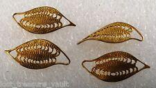 Vintage Raw Brass Metal Fillagree Twist Stamping Leaf Shape Set of 4