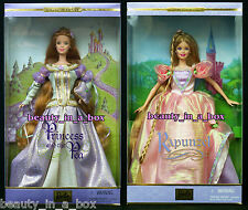 Princess and the Pea & Rapunzel Barbie Doll Princess Series Collector Lot 2 ""