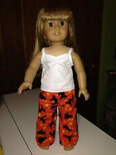 "Doll Clothes PJs'-Black Cats on Orange - Halloween-Sleep pants -for 18"" Dolls"