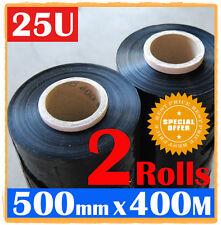 2 Rolls 500mm x 400m Meter - 25U BLACK - Hand Stretch Film Pallet Shrink Wrap