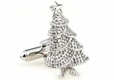 New Silver Plated Metal Christmas Tree Cufflinks Great Gift Idea