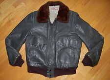 Vintage WEAR GUARD Type G-1 Dark Brown Leather Flight BOMBER Jacket Size 40