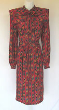 VINTAGE 1970s 80s NEIMAN MARCUS ASCOT JUMPER DRESS SOUTHWEST PATTERN POLY BELT