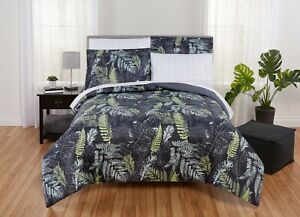 Mainstays 5-7 Piece Tropical Leaf Bed in a Bag Set with Sheets, Black and White