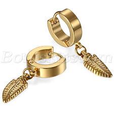 Mens Women Stainless Steel Feather Drop Dangle Huggie Hinged Hoop Studs Earrings