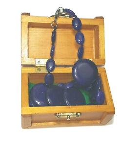 "Vintage 18"" 14k  Lapis Lazuli Flat Stone Beaded Necklace ~ Small E Treasure Box"