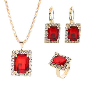 Women Crystal Necklace Earrings Ring Set Black/Sapphire/Ruby/Emerald Tone Earing