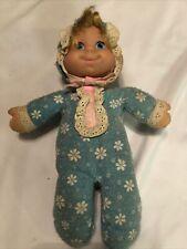 "1970 Vintage 11"" Mattel Talking Baby Beans Doll - Still Talks Works Blue Outfit"
