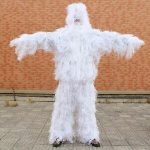 3D Ghillie Suit Clothing White Snow Hunting Sniper Birding Pants Hooded Jacket