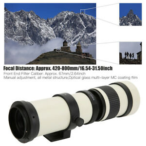 NEW 420‑800mm F/8.3‑16 Telescope Zoom Telephoto Lens for Canon EF-S Mount Camera