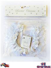 Bridal Charm White Lace Horseshoe Wedding Horse Shoe w/ Bow Detail Beading BBH01