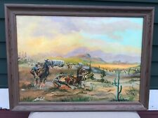"""War Party"" Cowboy Western Oil Painting by Artist A.W. Ross circa 1960s"