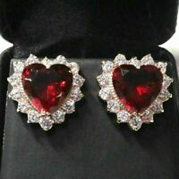 Sparkling Red Ruby Heart Stud Earring Women Wedding Jewelry 14K Rose Gold Plated