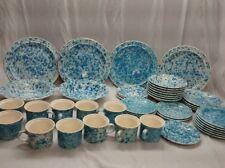 Rare 45 pieces  Homer laughlin blue spongeware splatterware  3 chips plates etc