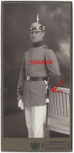 Foto 1 WK CDV Portrait Bayern Offizier mit Pickelhaube + langes Bajonett Lindau