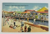 Postcard Linen Boardwalk and Beach Bar Sun Bathers Seaside Park New Jersey