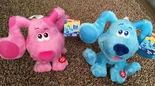 Set Of 2 Blues Clues & You BARKING BLUE And MAGENTA Plush Dog 7'' Nickelodeon