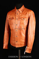 WEST Mens Western Trucker Leather Shirt Cowboy Real Leather Summer Jacket Tan