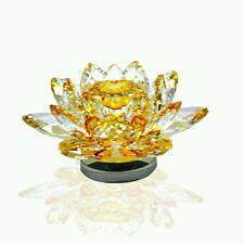 Haaptik Feng shui | Vastu | Lian Hua| Crystal Sapphire Yellow Lotus Flower Large