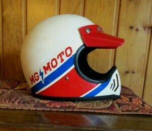 1980 Vintage Marushin MG-MOTO Motorcycle Helmet Good Overall Condition Size Med