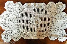 ANCIEN  NAPPERON  coton blanc CROCHET 53cmx28 cm @OLD