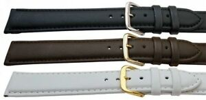 Leather Watch Strap Gents Ladies Black White Brown Extra Long Standard All Sizes