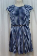 Jessica Howard Dress Petite 10P Blue Multi Print Jersey Belted Career Cocktail