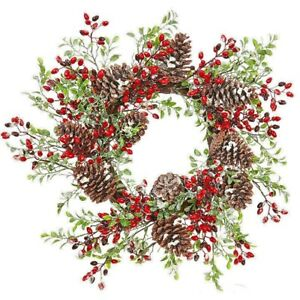 """22"""" SNOWY MIXED WREATH Christmas RED BERRIES Pine Cones RAZ Imports W3800015 NEW"""