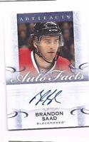 2014-15 Artifacts autographed hockey card Brandon Saad, Chicago Blackhawks