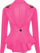Ladies Womens Spike Frill Peplum Studded Blazer Jacket Coat UK 8-24 Plus Size