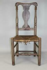 EARLY 18TH C SOUTHOLD, LONG ISLAND NY QA CHAIR TURNED LEGS GREAT ORIGINAL PAINT