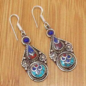 925 Tibetan Silver Turquoise Coral Lapis Lazuli  Earrings Ethnic Jewellery TIJ45