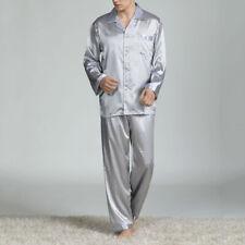 Mens Satin Silk Printed Tops Pants Pyjamas Long Sleeve Nightwear Home Sleepwear
