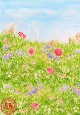 GREEN SUMMER FLOWER FIELD BACKDROP BACKGROUND VINYL PHOTO PROP 5X7FT 150x220CM