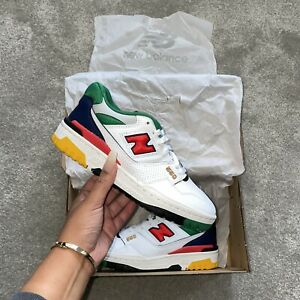New Balance 550 Basketball Trainers White Navy Red Green Multicoloured DS UK 5.5