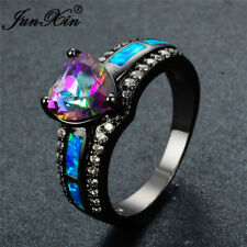 Heart Rainbow Topaz Blue Fire Opal CZ Wedding Ring Black Gold For Women Size5-11