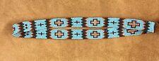 TURQUOISE COPPER CROSS Native Design Handmade Beaded Hatband HAT BAND