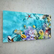 Wall Art Glass Print Canvas Picture Large Coral Reef Tropical 39327855 100x50cm