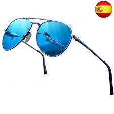 Gafas de sol polarizadas para hombres y  (Marco Azul / Lente de Aviador Azul)