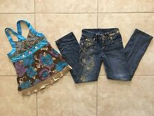 ☀️ Disney Hannah Montana Girls Outfit Shirt & Jeans Embroidered Rhinestone M 7-8