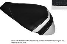 BLACK & WHITE LEATHER CUSTOM FITS APRILIA RSV4 R 1000 09-15 REAR SEAT COVER